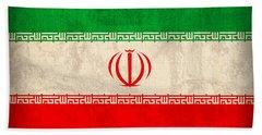 Iran Flag Vintage Distressed Finish Beach Towel