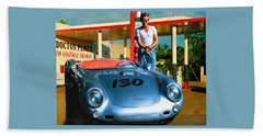 James Dean Filling His Spyder With Gas Beach Sheet