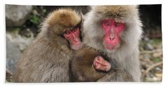 Japanese Macaque Mother With Young Beach Towel