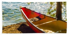 Kayak By The Water Beach Towel by Alex Grichenko