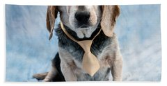 Kippy Beagle Senior And Best Dog Ever Beach Towel by Iris Richardson