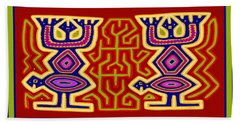 Beach Towel featuring the digital art Kuna Bird Spirits by Vagabond Folk Art - Virginia Vivier