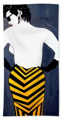 Beach Towel featuring the painting Lady In Stripes by Nora Shepley