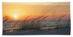 Lake Michigan Sunset Panorama Beach Sheet by Mary Lee Dereske