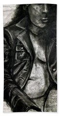Beach Towel featuring the drawing Leather Jacket by Gabrielle Wilson-Sealy