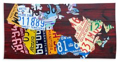 License Plate Map Of Canada Beach Towel