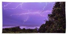 Lightning Over The Beach Beach Towel