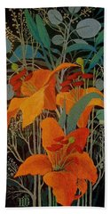 Beach Towel featuring the painting Lilies by Marina Gnetetsky