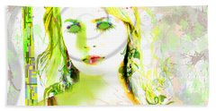 Beach Towel featuring the digital art Lily Lime by Kim Prowse