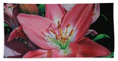 Beach Towel featuring the painting Lily's Garden by Pamela Clements