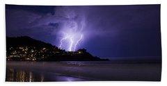 Lightning Over The Ocean Beach Sheet