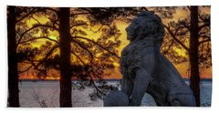 Lion At Sunset Beach Towel
