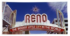 Low Angle View Of The Reno Arch Beach Towel