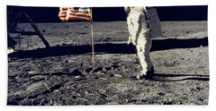 Man On The Moon Beach Towel by Neil Armstrong/Underwood Archive