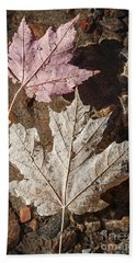 Maple Leaves In Water Beach Towel
