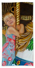 Beach Towel featuring the painting Merry-go-round by Sharon Schultz