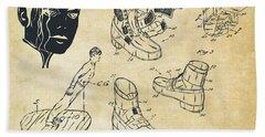 Michael Jackson Anti-gravity Shoe Patent Artwork Vintage Beach Towel by Nikki Marie Smith