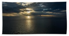 Midnight Sun Over Mount Susitna Beach Sheet by Andrew Matwijec
