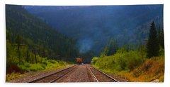 Misty Mountain Train Beach Towel