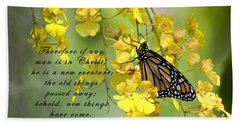 Monarch Butterfly With Scripture Beach Towel