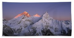 Beach Towel featuring the photograph Moon Over Mount Everest Summit by Grant  Dixon