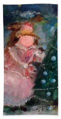 Beach Towel featuring the painting Mother Christmas by Laurie Lundquist
