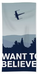 My I Want To Believe Minimal Poster-xwing Beach Towel by Chungkong Art