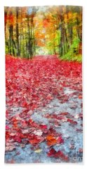 Nature's Red Carpet Watercolor Beach Towel