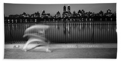 Night Jogger Central Park Beach Towel