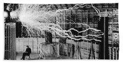 Nikola Tesla Serbian-american Inventor Beach Sheet