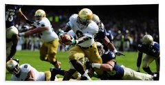 Notre Dame Versus Navy Beach Towel by Mountain Dreams