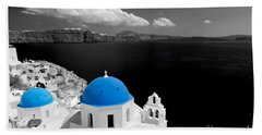 Oia Town On Santorini Island Greece Blue Dome Church Black And White. Beach Towel
