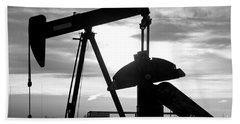 Oil Well Pump Jack Black And White Beach Towel