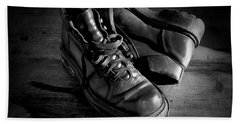 Old Leather Shoes Beach Towel by Fabrizio Troiani