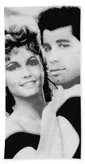 Olivia Newton John And John Travolta In Grease Collage Beach Sheet