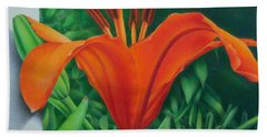 Beach Towel featuring the painting Orange Lily by Pamela Clements