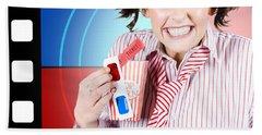Overjoyed Nerd Woman At 3d Movie Premier Beach Towel