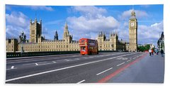 Parliament Big Ben London England Beach Sheet by Panoramic Images