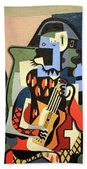 Picasso's Harlequin Musician Beach Towel by Cora Wandel