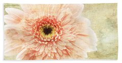 Beach Towel featuring the photograph 1 Pink Painterly Gerber Daisy by Andee Design