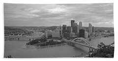 Pittsburgh - View Of The Three Rivers Beach Sheet by Frank Romeo