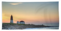 Point Judith Lighthouse Beach Towel by Juli Scalzi