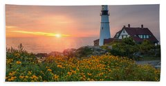 Portland Head Light Sunrise  Beach Towel