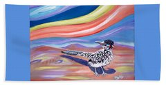 Beach Towel featuring the painting Posy 2 The Roadrunner by Phyllis Kaltenbach