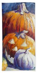 Pumpkin Happy Face Beach Towel