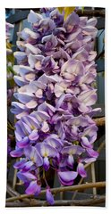Purple Orchid Like Flower Beach Towel