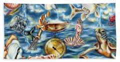 Beach Towel featuring the painting Recipe Of Ocean by Hiroko Sakai