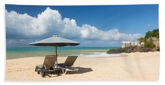 Reclining Chairs And Umbrella On Baie Rouge Beach Towel