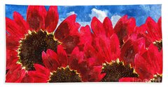 Red Sunflower Beach Sheet by Lanjee Chee