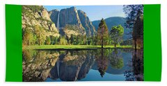 Reflections Of Yosemite Falls Beach Towel